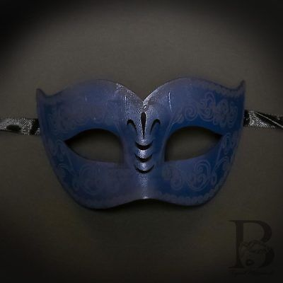 Navy Blue Dark Blue Venetian Leather Masquerade Mask for Men M33175 (Venetian Masquerade Masks For Men)