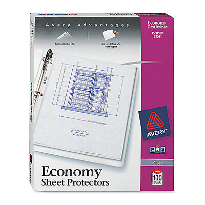 Avery Top-load Sheet Protector Economy Gauge Letter Clear 100box 75091