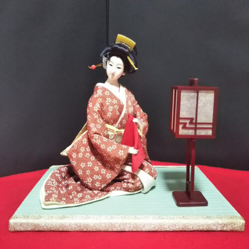Vintage Japanese doll in Kimono on Tatami Sitting Style Antique Traditional Doll
