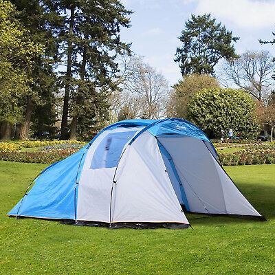 Campingzelt mit Vorraum Kuppelzelt Familienzelt 2-4 Personen wasserdicht Blau