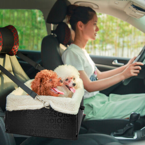 Lookout Pet Dog Car Seat For Car W/ Leash Safety Booster Seat Soft Bed Sheepskin
