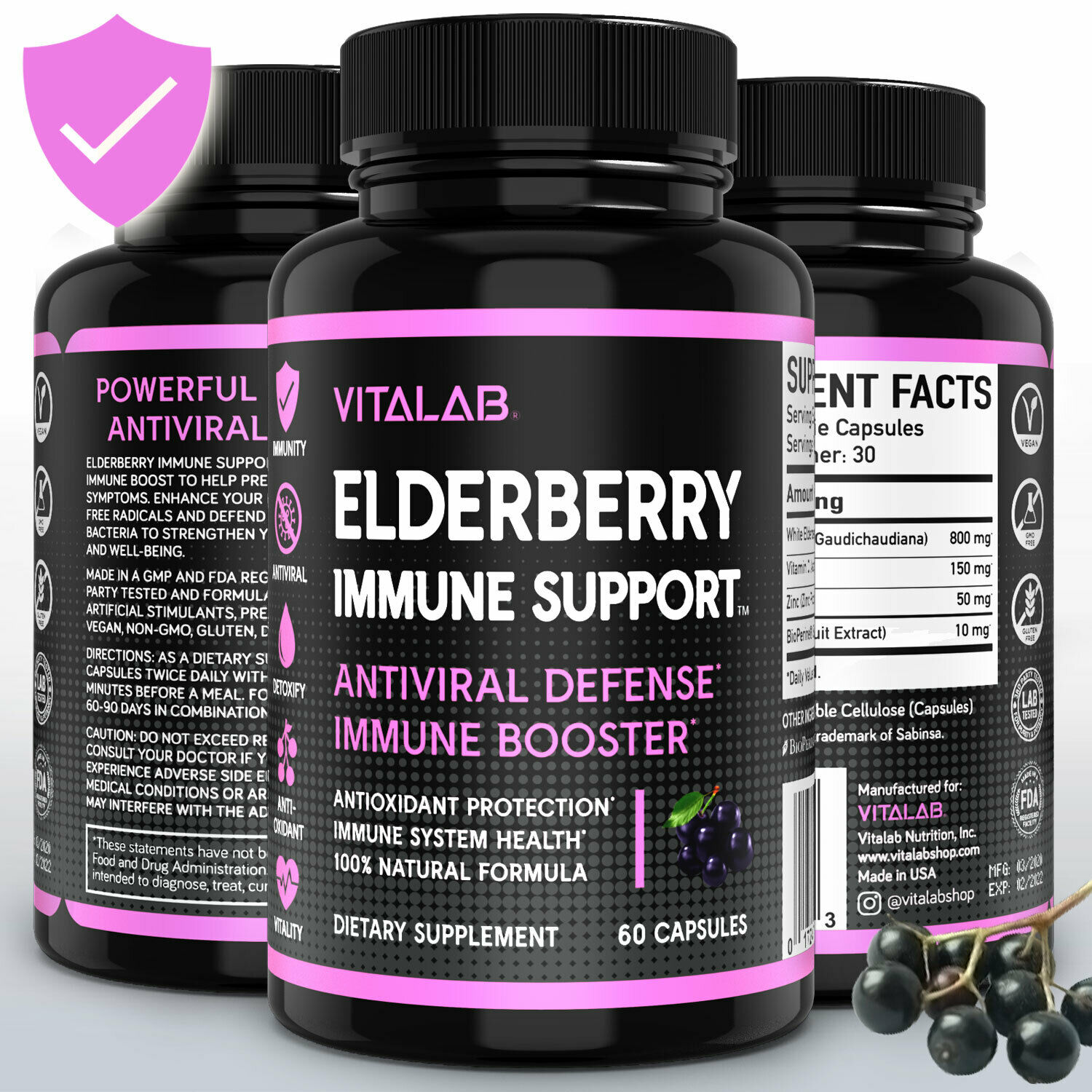 Elderberry Immune System Booster 1000mg Capsules Elderberry Sambucus