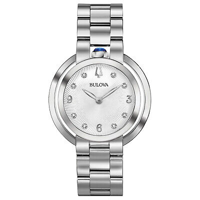 Bulova Women's Quartz Rubaiyat Diamond Accent Sapphire Crystal 35mm Watch 96P184