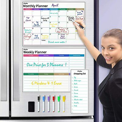 Dry Erase Calendar For Fridge Ohuhu 3 Sets Magnetic Whiteboard Calendars