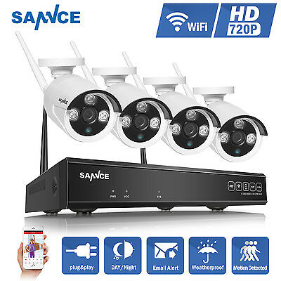 SANNCE 720P 4CH NVR Wireless WIFI 1500TVL IP Camera Outdoor Home Security System