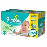 Pampers, Natural Clean Baby Wipes, 864-Count