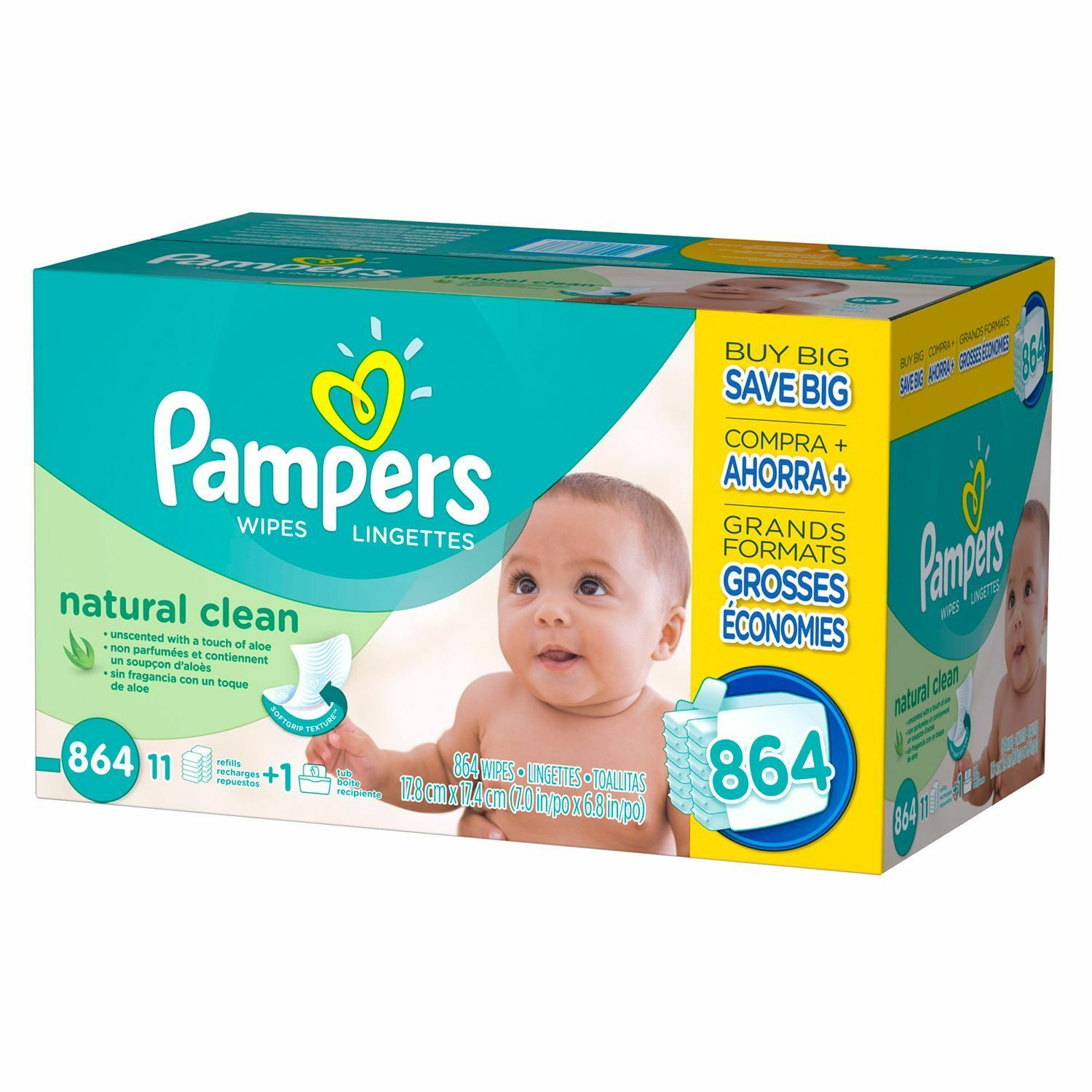 Купить Pampers, Natural Clean Baby Wipes, 864-Count