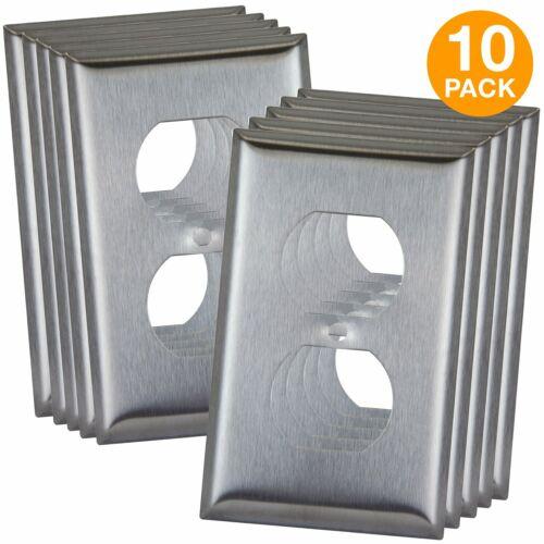 ENERLITES 1-Gang Duplex Receptacle Outlet Wall Plate 430 Stainless Steel 10 Pack