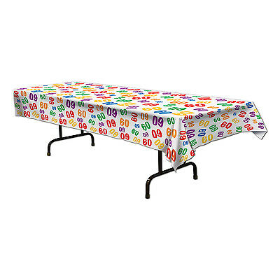 60th Table Decorations (60th Celebration Plastic Table Cover Birthday Party Tableware)