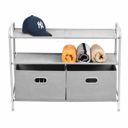 MaidMAX 3 Tiers Closet Shelf Organizer with 2 Drawers for Ho