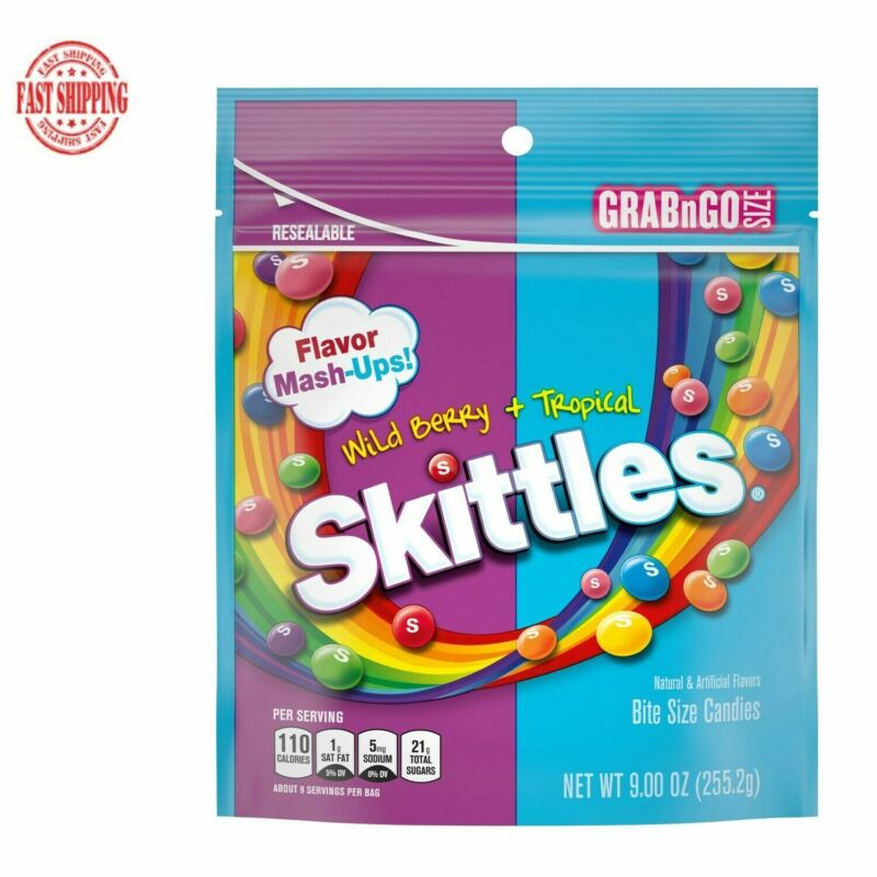 Skittles Wild Berry and Tropical Flavor Mash Ups Chewy Candy 9 oz