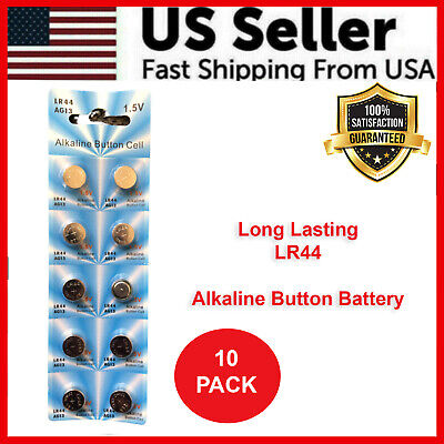 LR44 10 PACK LR44 AG13 A76 L1154 357 303 LED Button 1.5V Cell Alkaline Battery