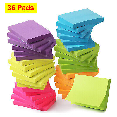 36 Pads Sticky Notes 1.5x2 Self-stick Note Paper Multi Colors For School Office