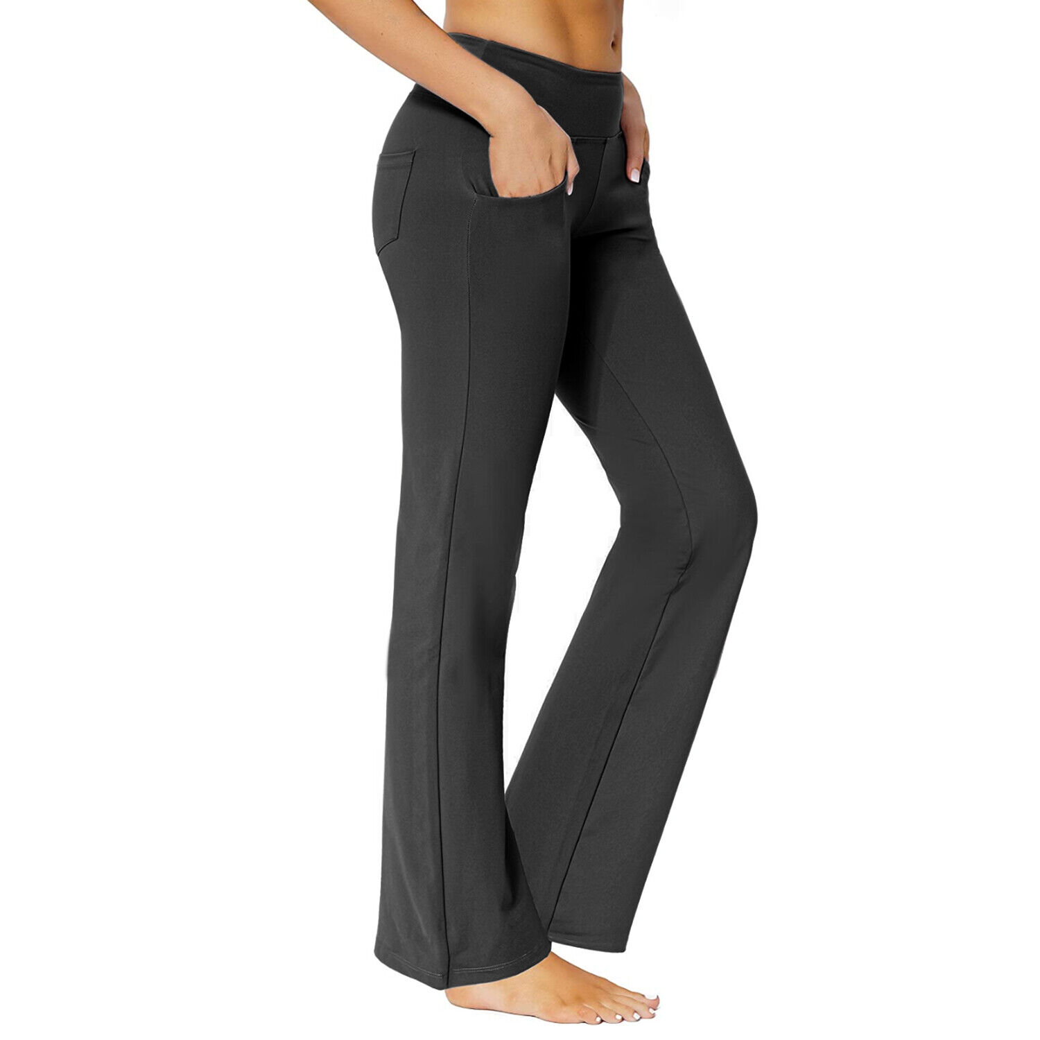 Women's Bootcut Yoga Pants w/ Pockets High Waist Workout Bootleg Flared Leggings Clothing, Shoes & Accessories