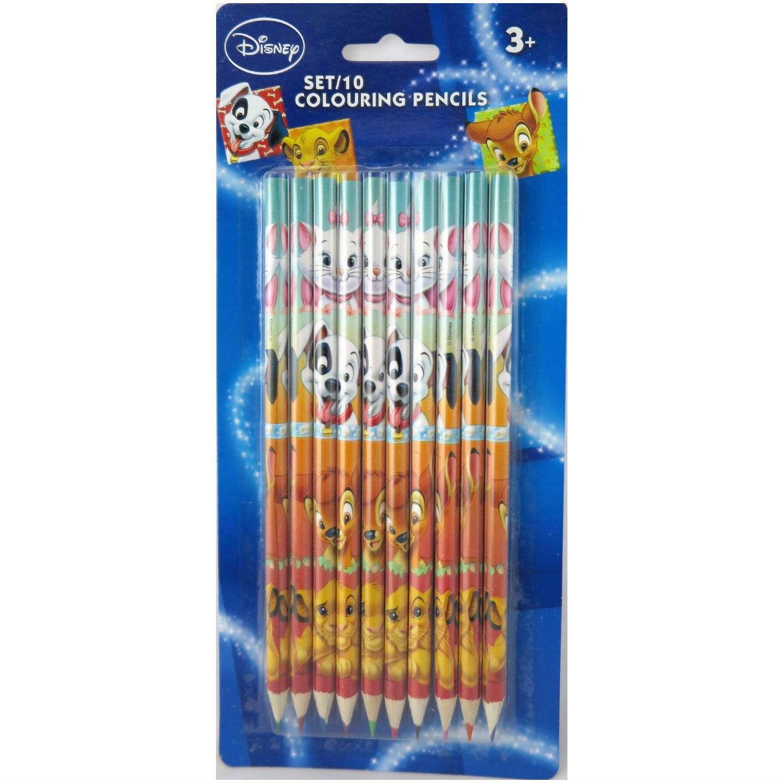 Set de 10 crayons de couleur Marie Dalmatien Bambi Simba