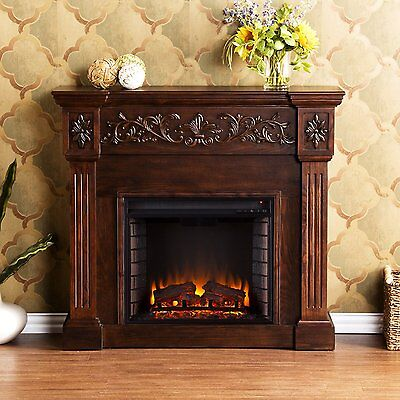 Southern Enterprises Calvert Carved Electric Fireplace, Espresso - FE9278 New