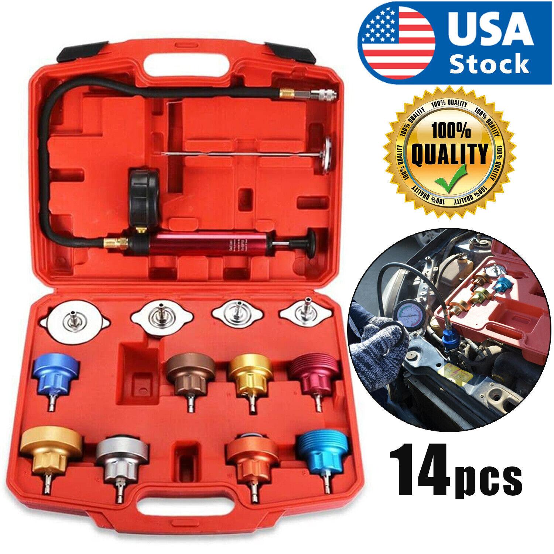14pcs Radiator Cooling System Pressure Tester Gasket Water Tank Leak Adapter Kit Automotive Tools & Supplies