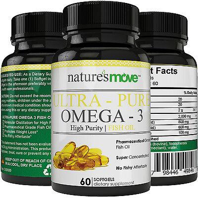 Fish Oil Omega 3 High Potency Formula EPA, DHA - Superior Strength Softgels ()