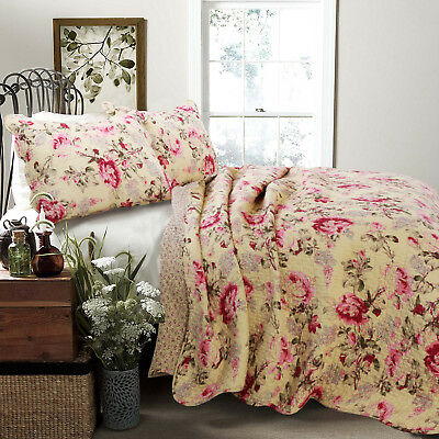 Lelia Rose Cottage 100%Cotton 3 Piece Reversible Quilt Set, Bedspread, Coverlet