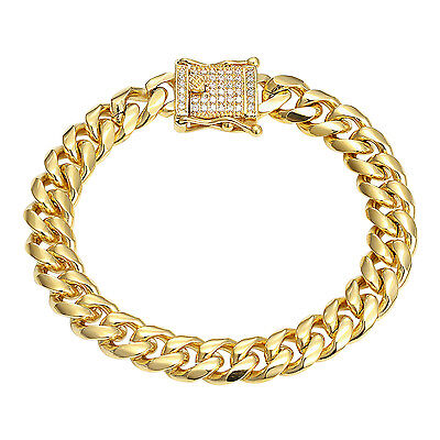 Miami Cuban Link Bracelet Iced Out Box Lock 10mm Stainless Steel 14k Gold Finish