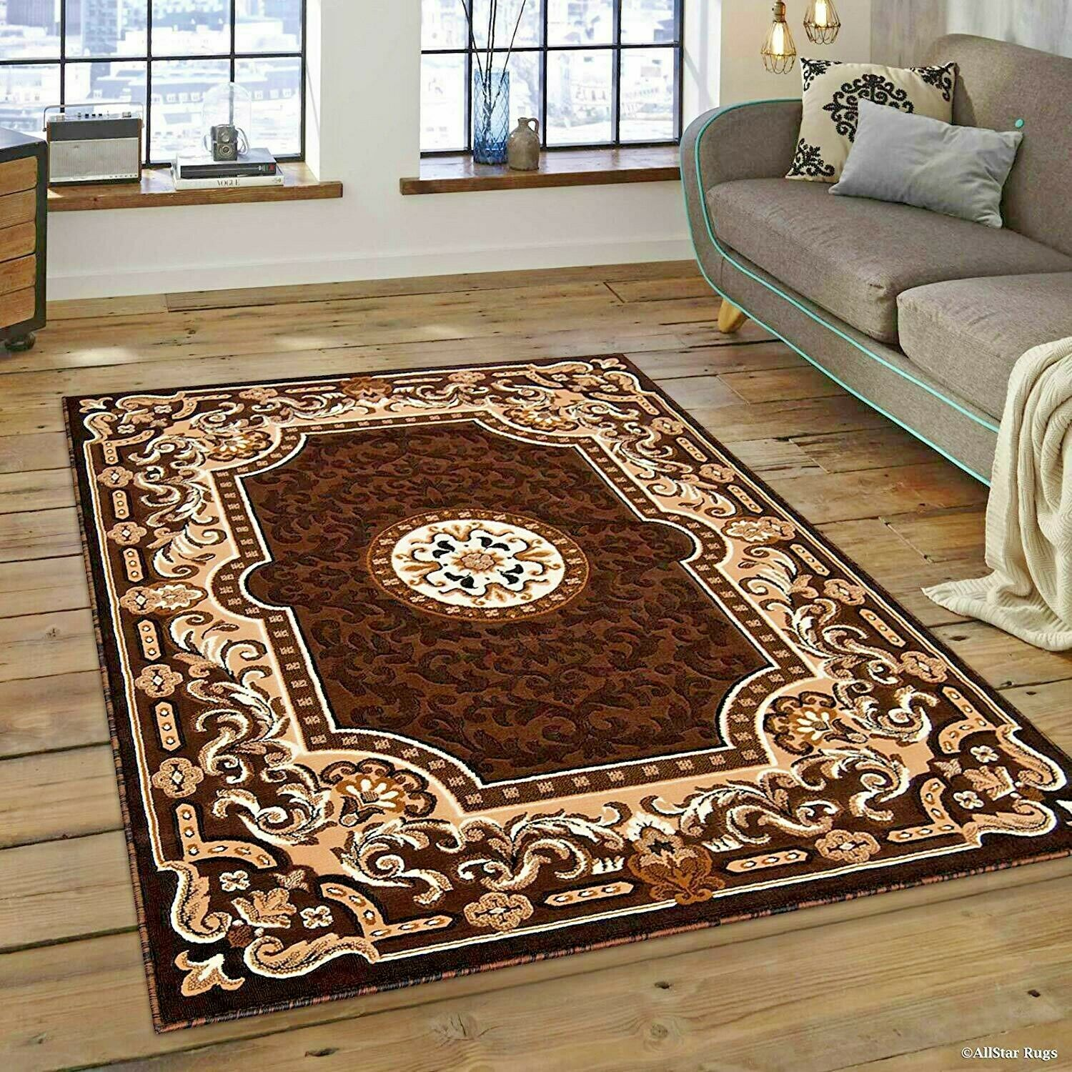 Details About Rugs Area Carpet 8x10 Rug Oriental Brown Large Cool Floor 5x7 New