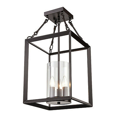 Square Cage Lantern Chandelier Semi-Flush Ceiling Light Glass Shade Candle Light