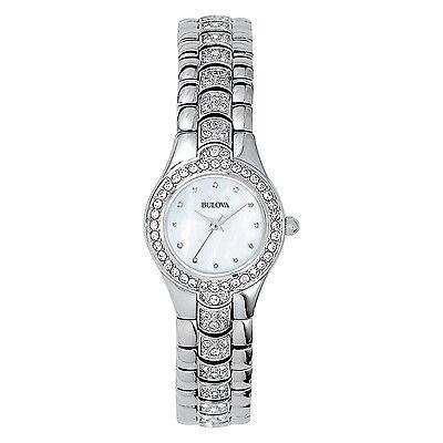 Bulova Women's Quartz Swarovski Crystals Stainless Steel 22mm Watch 96T14