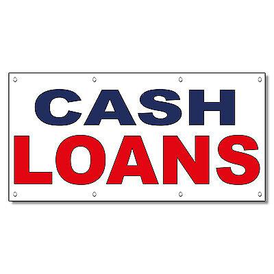 Cash Loans Blue Red 13 Oz Vinyl Banner Sign With Grommets