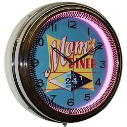 Mom's Diner Open 24 Hours 16 Pink Neon Advertising Wall Clock Home Decor