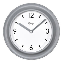 20860 Equity by La Crosse 7 Beveled Plastic Slate Gray Frame Analog Wall Clock