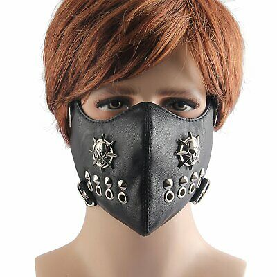 Punk Skull Rivet Leather Men Breathable Sports Biker Anti-Dust Face Shield Guard