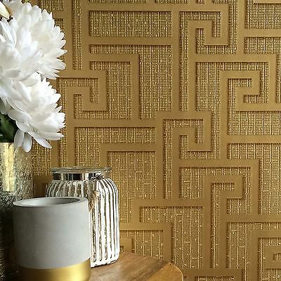 VERSACE PARVUS GREEK KEY WALLPAPER LUXURY METALLIC - GOLD - 96236-1