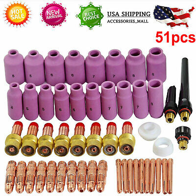 51 Pcs Tig Welding Torch Gas Lens Collet Accessories Kit For Wp-171826 Series