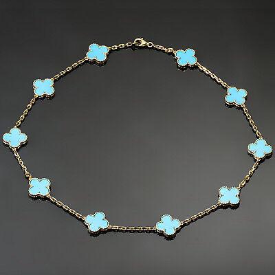 VAN CLEEF & ARPELS Vintage Alhambra Turquoise 18k Yellow Gold 10 Motif Necklace