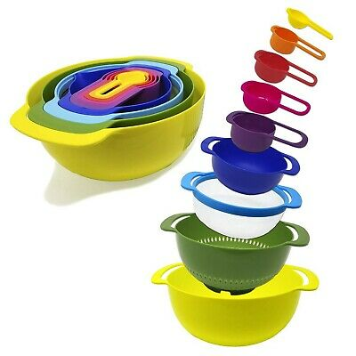 9-Piece Nesting Mixing Bowls & Measuring Cups Set for Cooking, Baking, RV -