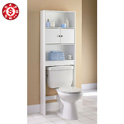 Storage Cabinet Over the Toilet  Bathroom Organizer Space Saver Wood Shelf White