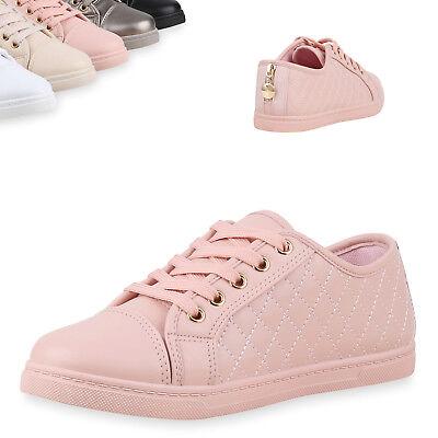 892591 Damen Sneakers Gesteppte Sportschuhe Metallic Schuhe Schnürer Top Metallic-schuhe