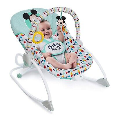 Disney Baby Mickey Mouse Infant to Toddler Rocker Chair Seat with Calm Vibration Baby Calm Rocker