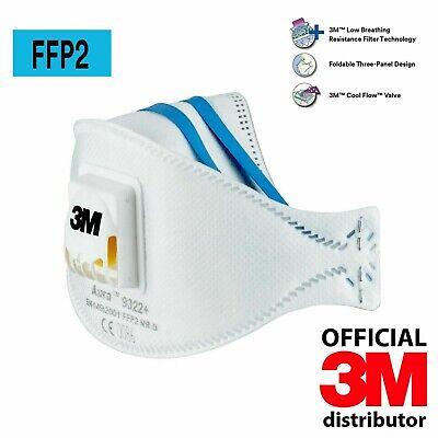 20x 3M Aura Atemschutzmaske 9322+ FFP2 FFP 2 mit Ventil Mundschutz ORGINALKARTON