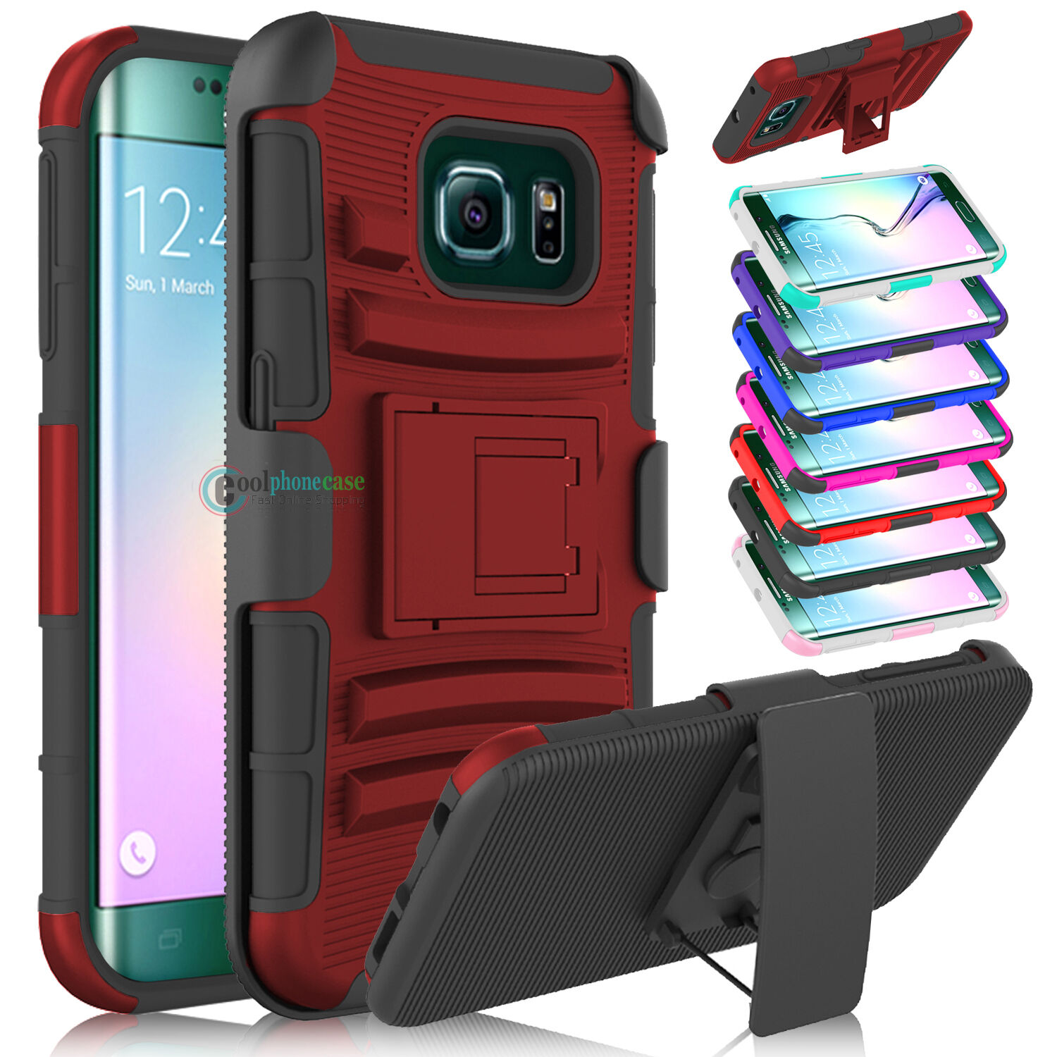 Hybrid Belt Clip Holster Kickstand Case Cover For Samsung Galaxy S6/Active/Edge+