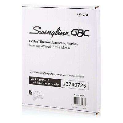 Swingline Gbc Thermal Laminating Sheets Pouches Letter Size 3 Mil Clear ...
