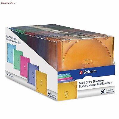 Best Verbatim 50-Ct Slim DVD Storage Cases Plastic Jewel CD Case Assorted