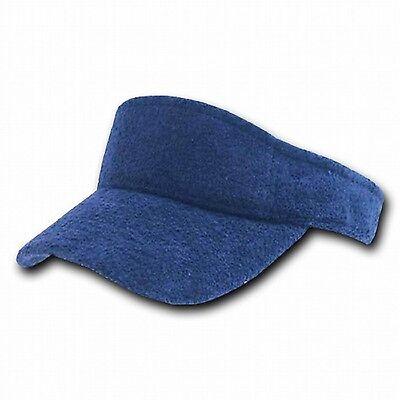 Golf Terry Visor - Navy Blue Terry Cloth Golf Tennis Plain Adjustable Sun Visor Cap Caps Hat Hats