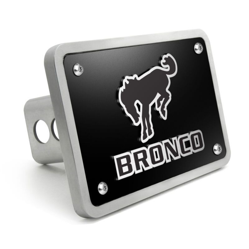 "Ford Bronco 3D Logo Black 3/8"" Thick Solid Billet Aluminum Tow Hitch Cover"