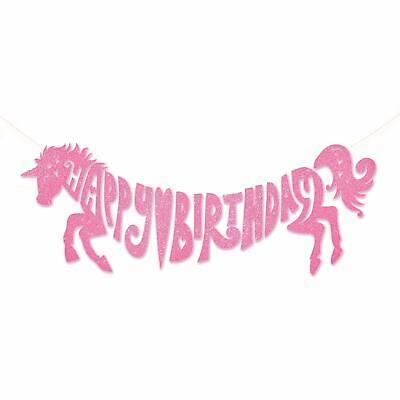 Unicorn Banner Glitter Bunting Garland Flag Happy Birthday Girl's Party Decor ()