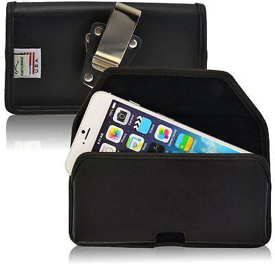 Turtleback Apple iPhone 6S Plus, Horizontal Black Leather Pouch Metal Belt Clip - Apple Iphone Horizontal Pouch