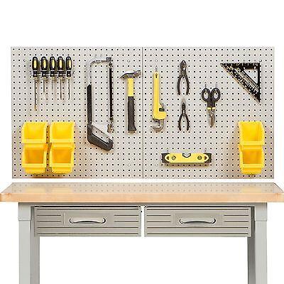 24 X 48 Steel Peg Board Kit Tool Storage 23 Pegboard Hooks Panel 6 Bins No Tax