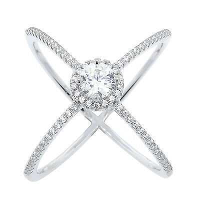 X Ring - Criss Cross Ring Cubic Zirconia 14k White Gold 925 Sterling Silver