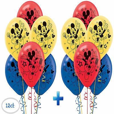 Mickey Mouse Printed Latex Balloons Birthday Decorations Party Supplies ~ 12ct](Mickey Birthday Decorations)