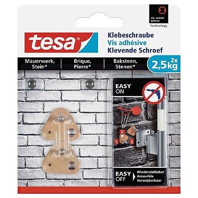 tesa Dreieckige Klebeschraube für Mauerwerk und Stein 2,5kg, Packung mit 2 Stück